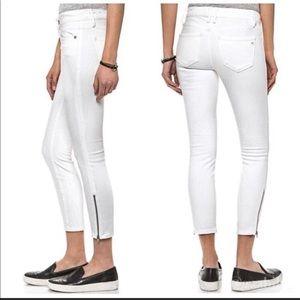 Madewell skinny skinny ankle zip white jeans